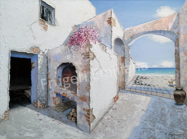Frugeri Emiliana 290-Borgo del Minotauro-60x80-Olio su tela