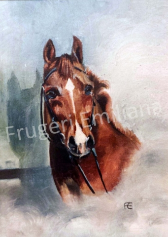 Frugeri Emiliana 136-Cavallo Rossiccio-30x40-Olio su Tela