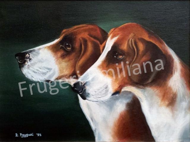 Frugeri Emiliana 19-Cani Inglesi-30x40-Olio su Tela