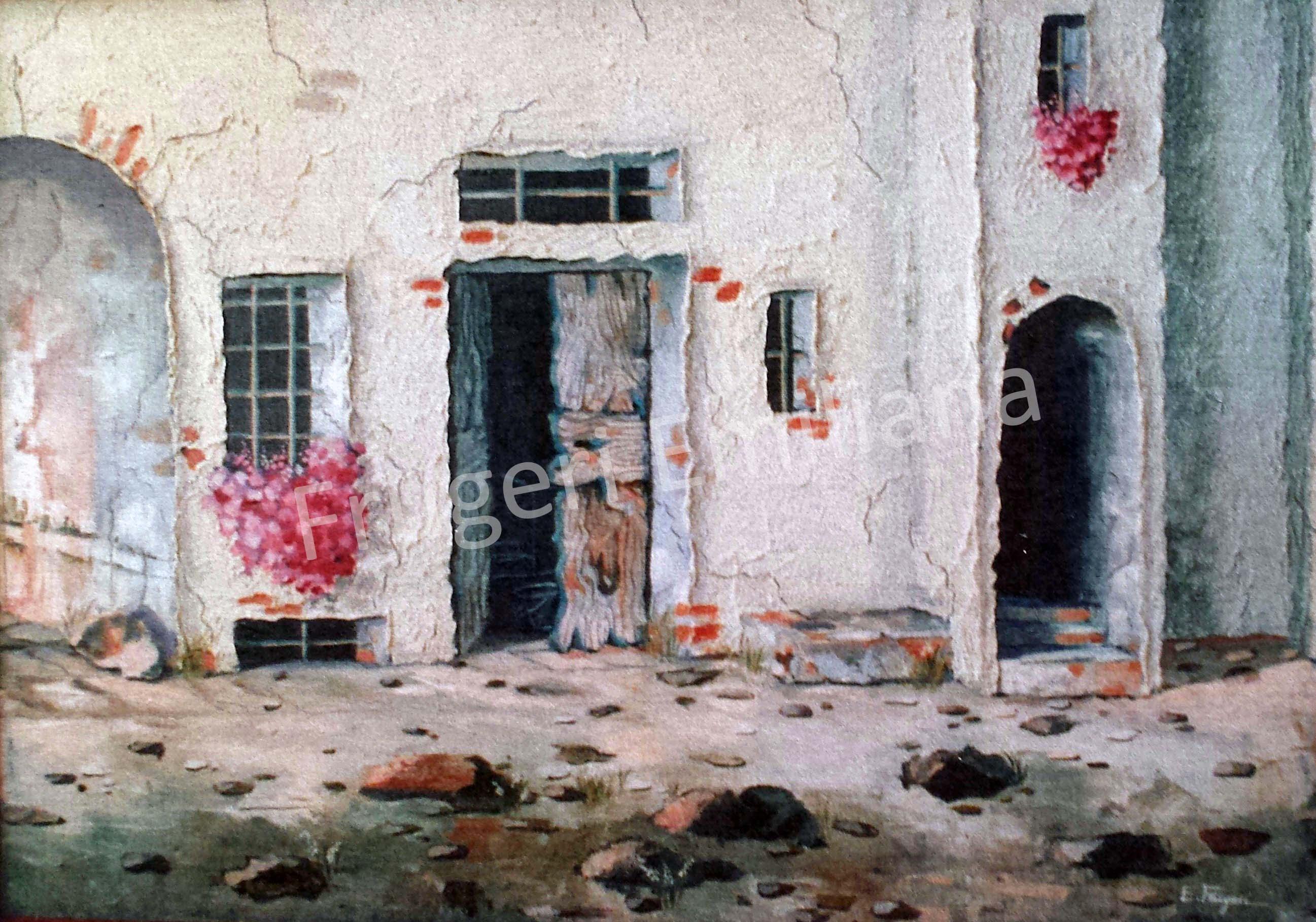 Frugeri Emiliana 191-Borgo valle Antica-50x70-Olio su Tela