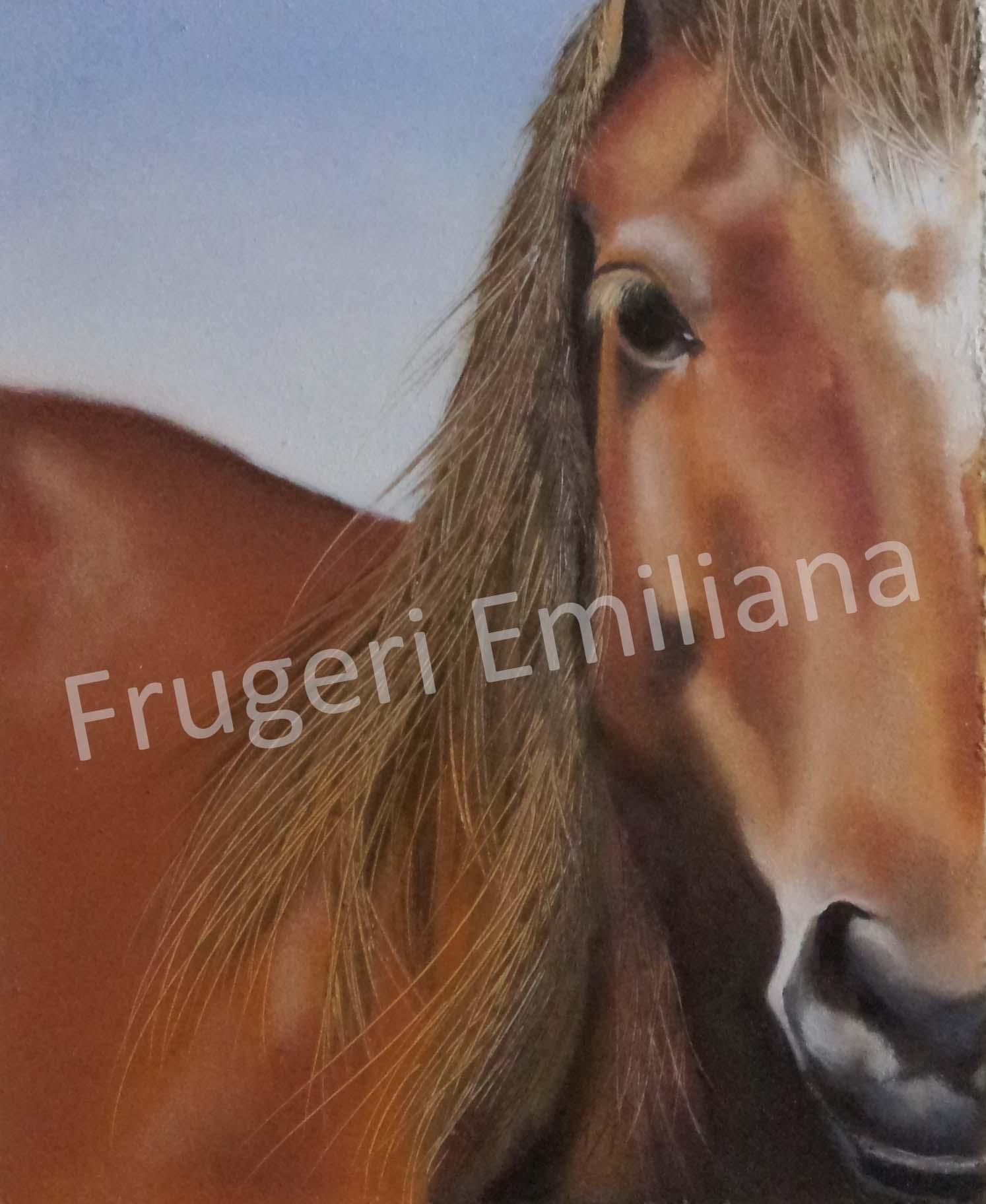 Frugeri Emiliana 437-Cavallo-20x30-Olio su Tavola